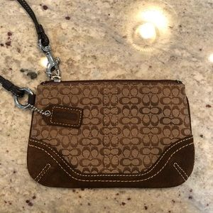 Brown & Tan Coach Wristlet